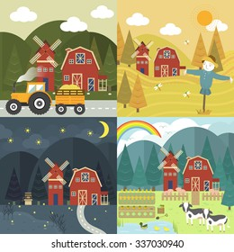 red farm barn with different season and time in flat design