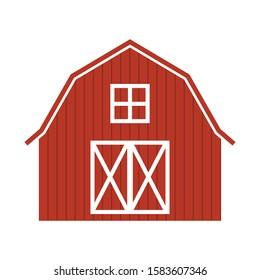 red farm barn, simple vector illustration