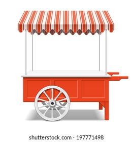 Red farmer's market cart. Vector.