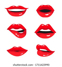 Red female lips collection. Set of sexy woman's lips expressing different emotions: smile, kiss, half-open mouth and biting lip. Vector illustration isolated on white background.