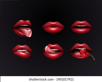 Red female lips set isolated on dark background. Lips with cherry in your mouth, tongue, teeth for your design. vector illustration