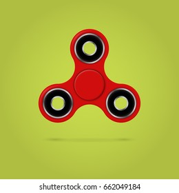 Red fidget spinner stress relieving toy. 3D illustration.