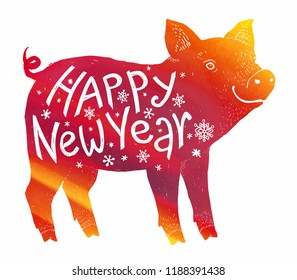 Red fiery pig vector silhouette with white hand drawn lettering Happy New Year inside