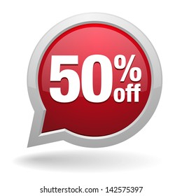 Red fifty percent off speech bubble