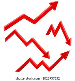 Red financial up and down moving arrows. Rising and falling trends. Vector 3d illustration