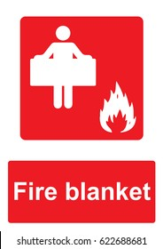 Red Fire Equipment Sign isolated on a white background -  Fire blanket