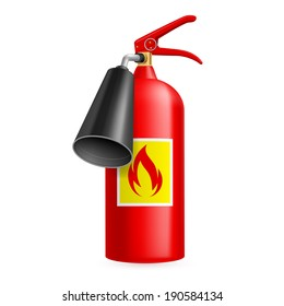 Red fire extinguisher isolated on white. Fire safety