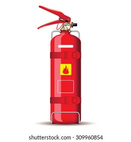Red fire extinguisher isolated on white. Vector illustration