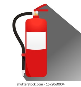Red fire extinguisher. With long shadows isolated on a white background