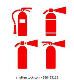Red fire extinguisher vector eps icon set on white background