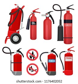 Red fire extinguishers. Firefighters tools for flame fighting attention colored vector symbols for fire station. Illustration of equipment safety, extinguisher protection