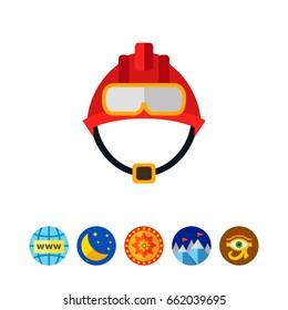 Red fire fighter helmet