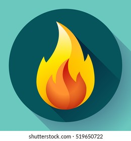 Red fire flame icon vector logo illustration