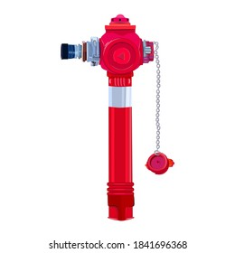 Red fire hydrant isolated on white background. Red urban active fire protection, water supply system. Firemen tool, professional equipment for city fire fighting department. Stock vector illustration