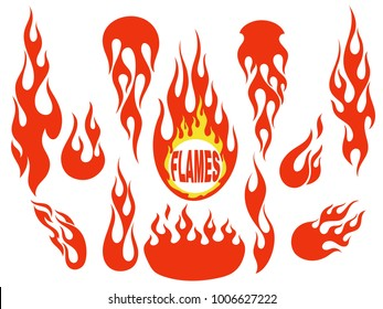 Red fire, old school flame elements set, isolated vector illustration