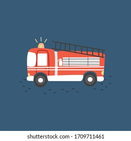 red fire truck emergency vehicle in modern flat style vector illustration