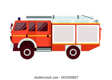 Red Fire Truck Emergency Vehicle. Modern Flat Style Vector Illustration. Social Media Template.