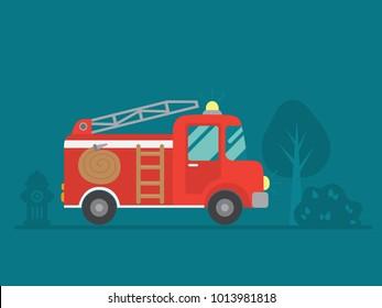 red fire truck vector illustration