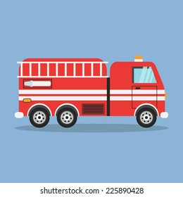 red fire truck with white stripes vector illustration