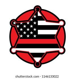 A red firefighter fireman badge emblem illustration. Vector EPS 10 available.