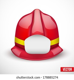 Red firefighter helmet vector illustration. Space for badge or emblem. Isolated and editable.