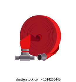 Red firehose illustration. Red, equipment, fire protection. Fire safety concept. Vector illustration can be used for topics like engineer system, safety