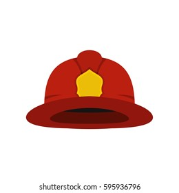 Red fireman helmet icon. Flat illustration of fireman helmet vector icon logo isolated on white background. Firefighter equipment