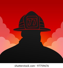 Red Fireman Silhouette - Black firefighter silhouette on red background with smoke