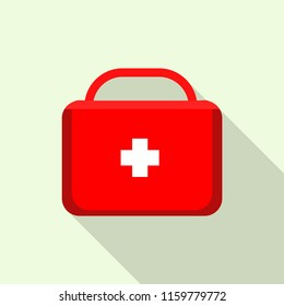Red first aid kit icon. Flat illustration of red first aid kit vector icon for web design