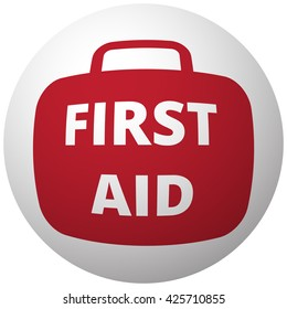 Red First Aid Kit icon on white ball