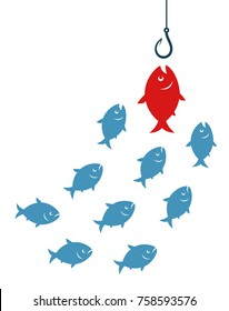 Red fish going to bait. Target audience concept.