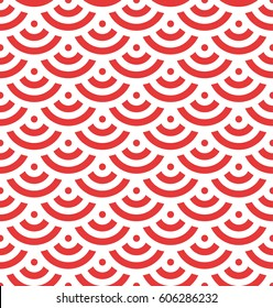 Red fish scale background of concentric circles. Abstract seamless pattern looks like roofing tiles. Vector illustration.