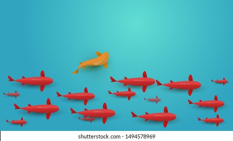 Red fish swim in water. Vector japanese koi carp or golden fish in cartoon paper style. Top view. Minimalistic design illustration.
