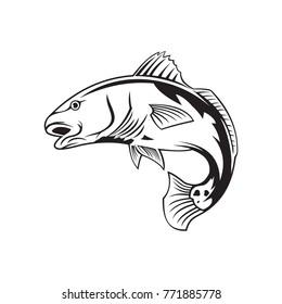 Red Fish Vector Logo, Fishing Logo