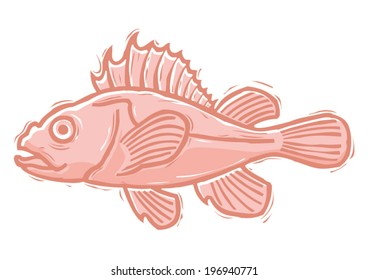 Red fish woodcut