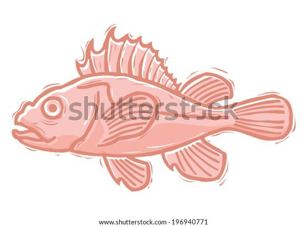 Red fish woodcut