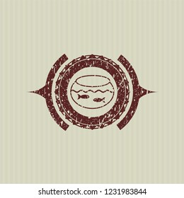 Red fishbowl with fish icon inside distress rubber grunge texture seal
