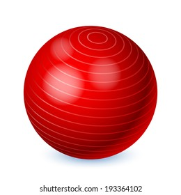 Red fitness ball isolated on white background