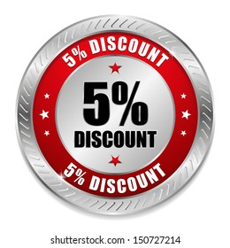 Red five percent discount button