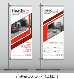 Red flag banner business brochure flyer design template vector, leaflet cover presentation abstract geometric background, modern publication x-banner and roll up, layout in rectangle.