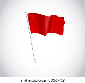Red flag on flagpole isolated on white background.  Flag flying in wind.