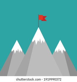 Red flag on a mountain peak. success, high results symbol. Landscape with  mountains and clouds.  Victory, leadership concept. Flat vector illustration in cartoon style.