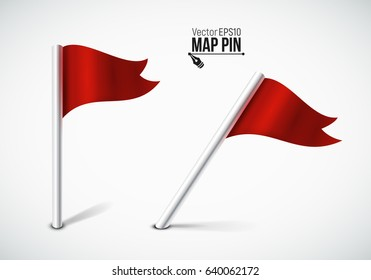 Red flag pin / Map pointer / Location  icon. Concept of route, landmark, adventure, explore. Vector illustration.