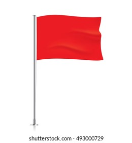 Red flag template. Red horizontal waving flag, isolated on background. Vector flag mockup.