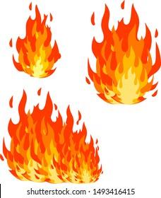 Red flame set. Cartoon flat illustration. Fireman's job. Dangerous situation. Part of bonfire with heat. Fire element