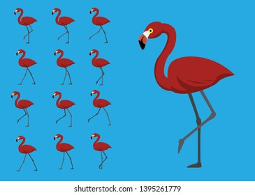 Red Flamingo Walking Motion Animation Sequence Cartoon Vector Illustration