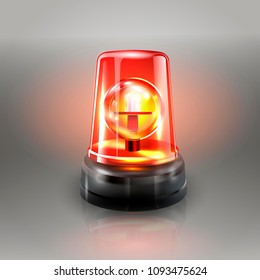 Red Flasher Siren Vector. Realistic Object. Light Effect. Beacon For Police Cars Ambulance, Fire Trucks. Emergency Flashing Siren. Gray Background vector Illustration