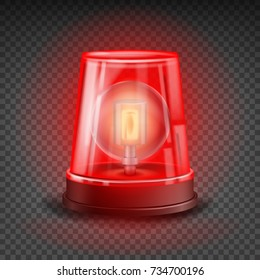 Red Flasher Siren Vector. Realistic Object. Light Effect. Beacon For Police Cars Ambulance, Fire Trucks. Emergency Flashing Siren. Transparent Background Illustration