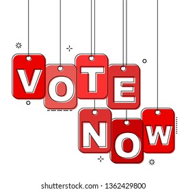 red flat line tag vote now