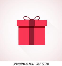 Red flat present box concept. Vector illustration